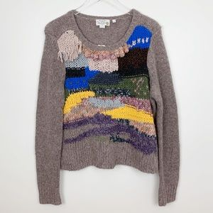 Anthropologie | Fringed Collage Pullover Sweater